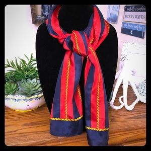 Echo red & navy silk oblong scarf with rope detail